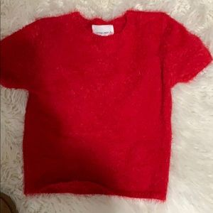 Red super soft cropped sweater
